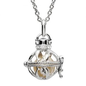 Shanore Silver Pearl Dolphin Pendant With Swarovski White Crystal