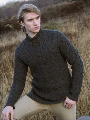 Aran Crafts Donegal Half Zip Aran Sweater