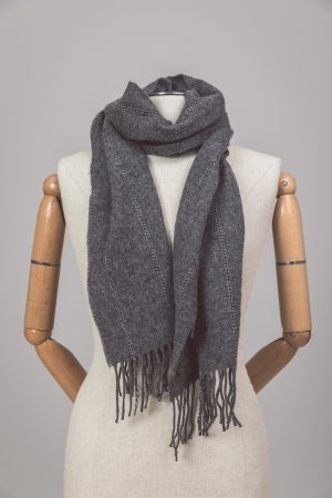 Foxford Lambswool Gray Pinstripe Scarf 3423/a1