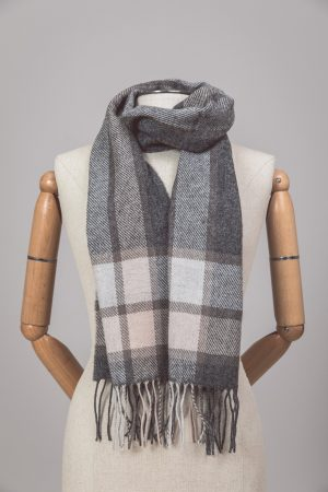 Foxford Lambswool Gray Check Boarder Scarf 3585/a1