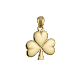14k Gold Small Shiny Shamrock Charm s8134