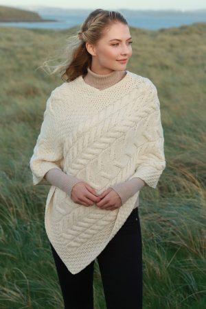 Natural Aran Super Soft Merino Wool Poncho