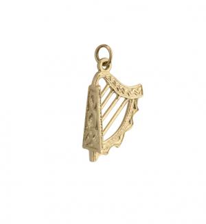 Solvar Large 9k Gold Harp Charm s8152