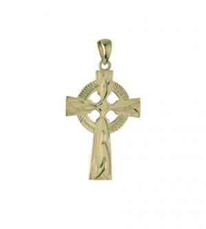 Solvar 14k Hand Engraved Celtic Cross Charm 20mm s8194