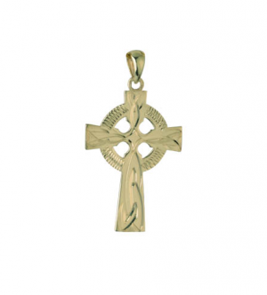 Solvar 14k Hand Engraved Celtic Cross Charm 25mm s8195