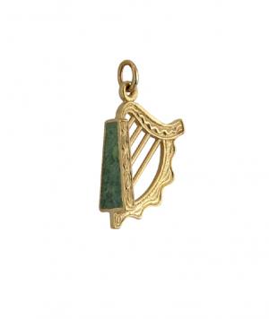Solvar 14k Gold Connemara Marble Harp Charm s8260