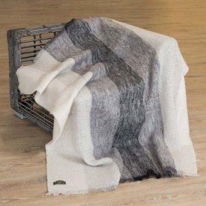 Large Black & White Mohair Throw Blanket lm519