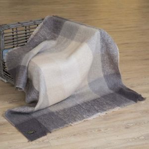 John Hanly Irish Mohair Blanket, Grey & Beige 517