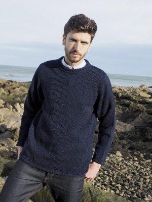 Navy Donegal Curl Neck Irish Sweater k4594