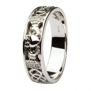 Men's White Gold Diamond Claddagh Wedding Band