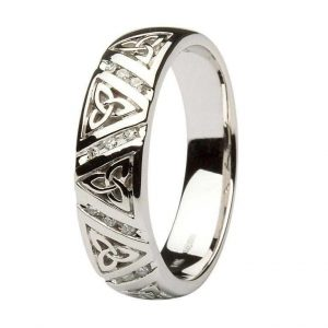 Gents Diamond Trinity Knot Wedding Ring