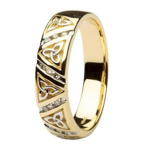 Gents Gold Diamond Trinity Knot Wedding Ring