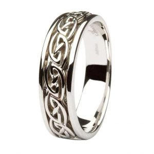 Gents White Gold Wedding Ring Celtic Knot