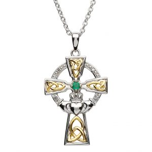 Emerald Diamond Celtic Trinity Claddagh Cross