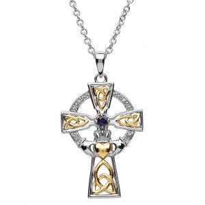 Sapphire Diamond Celtic Trinity Claddagh Cross