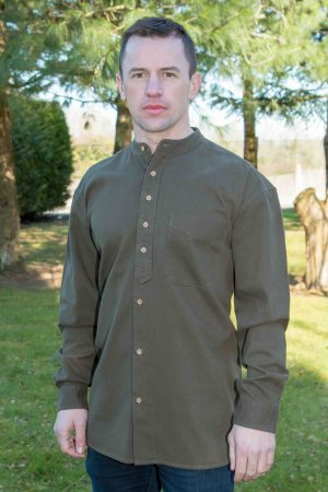 Army Green Traditional Grandfather Shirt