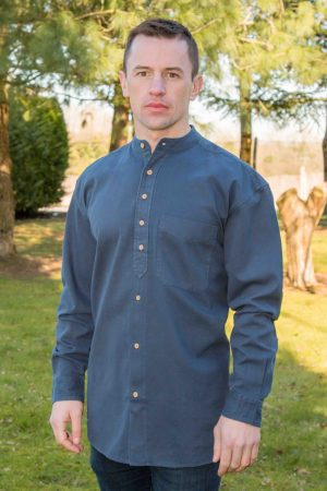 Ink Blue Traditional Grandfather Shirt