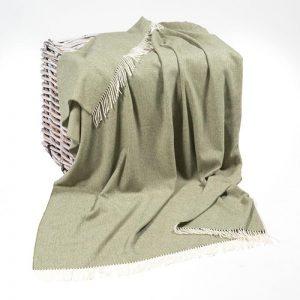John Hanly Lambswool Silver Grey Reversible Blanket Throw