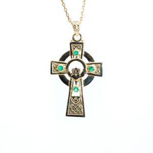 Gold Celtic Emerald Claddagh Cross