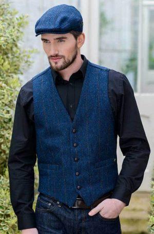 Blue Irish Tweed Waistcoat by Mucros Weavers