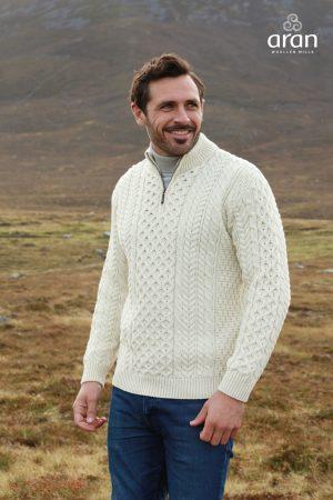 Aran Merino Wool Half Zip Sweater
