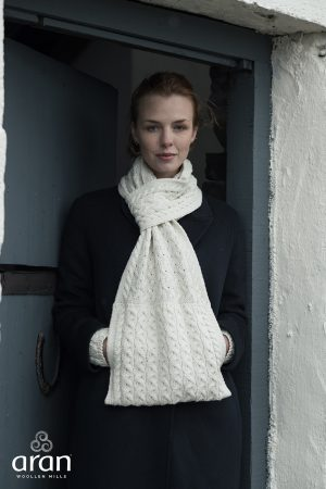 Aran Natural Super Soft Scarf with Pockets