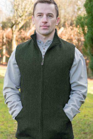 Men's Full Zip Green Tweed Herringbone Gilet