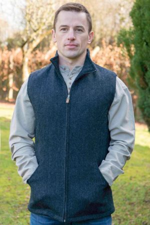 Men's Full Zip Navy Tweed Herringbone Gilet