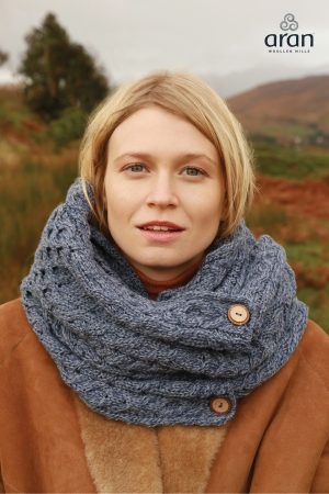 Aran Denim Merino Wool Button Snood Scarf