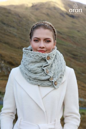 Aran Gray Merino Wool Button Snood Scarf