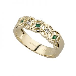 Solvar 14k Gold Diamond Emerald Trinity Ring