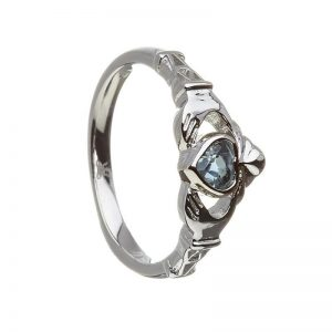 December-Blue Topaz Birthstone Claddagh Ring