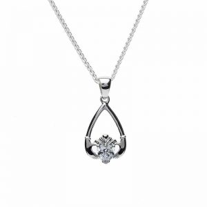 April-Cubic Zirconia Birthstone Claddagh Pendant