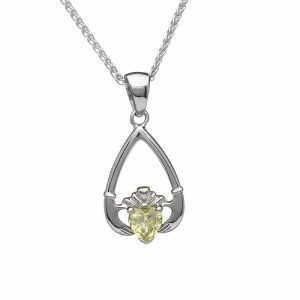 August-Peridot Birthstone Claddagh Pendant