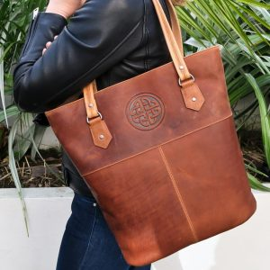 Lee River Tan Leather Tote Bag