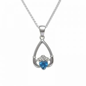 December-Blue Topaz Birthstone Claddagh Pendant
