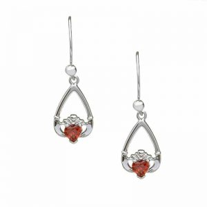January-Garnet Birthstone Claddagh Earring