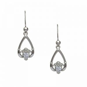 April-Cubic Zirconia Birthstone Claddagh Earring