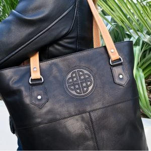 Lee River Black Leather Tote Bag