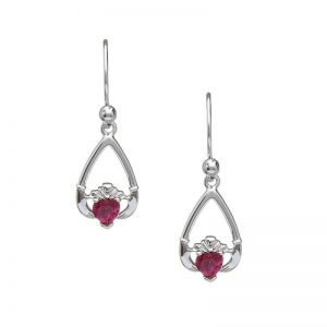 July-Ruby Birthstone Claddagh Earring