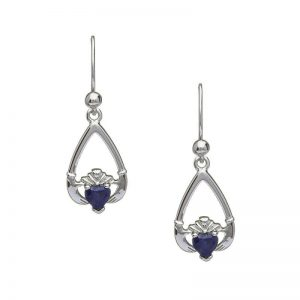 September-Blue Sapphire Birthstone Claddagh Earring