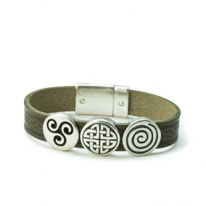 Aoife Green Celtic Leather Cuff Bracelet