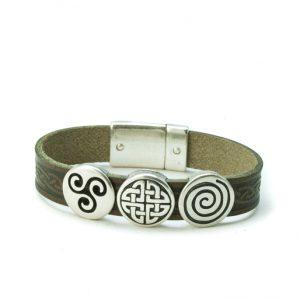 Aoife Green Celtic Leather Cuff Bracelet