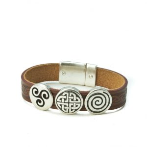 Aoife Brown Celtic Leather Cuff Bracelet
