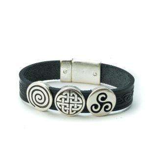 Aoife Black Celtic Leather Cuff Bracelet