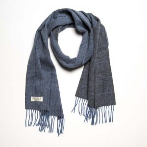 John Hanly Lambswool Blue Gray Scarf