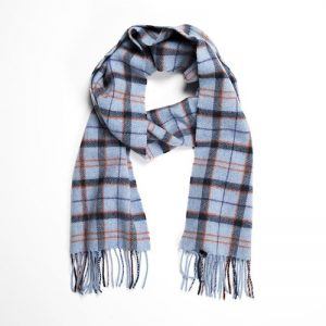 John Hanly Lambswool Blue Check Scarf