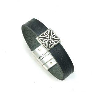 Braden Black Celtic Cuff Leather Bracelet