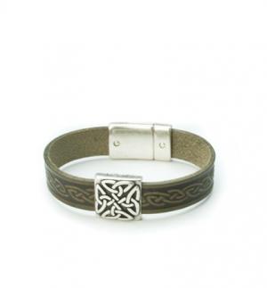 Braden Green Celtic Cuff Leather Bracelet