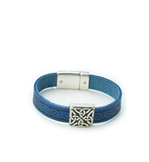 Braden Blue Celtic Cuff Leather Bracelet